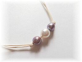 パープル淡水真珠ネックレス