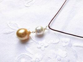 白蝶真珠2個チャーム