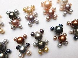 南洋真珠高品質淡水真珠くまちゃんK10ドールチャーム淡水真珠アコヤ真珠【祝楽天出店22周年】SVシルクコード付