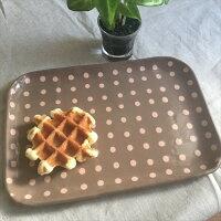 カフェプレートチョコ色ピンクドットDotFactoryさんの手作り陶器カフェプレート陶器ドット手作りブラウンチョコ