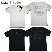 NortonサーマルTシャツサーマルYネックヘンリー202N1007ブラックホワイト【2020サーマルTシャツ/ノートン半袖/メンズ/バイカー/バイク/メール便可あす楽】