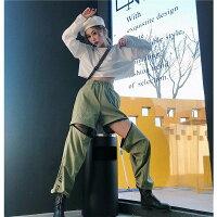 パンツズボンハイウエストLOGOロゴ英字ユニセックス男女兼用体型カバー原宿系ファッション韓国風ダンス衣装POPカワ個性奇抜かわいい青文字系ボトムスレディース