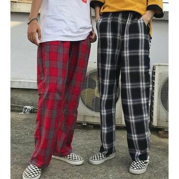 ペアお揃い カップルパンツ チェック柄 ゆったり 原宿系ファッション 韓国 ダンス衣装 個性 派手 カワ ボトムス レディース