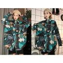 ブラウスシャツドルマンスリーブプリント切り替えバイカラー配色幾何学柄エスニック民族風体型カバー原宿系ファッション韓国系ダンス衣装トップスレディース