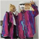 ブラウスシャツ切り替えバイカラー配色体型カバーヴィンテージ風レトロ調ユニセックス男女兼用原宿系ファッション韓国系ダンス衣装トップスレディース