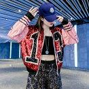 全4色ジャケット切り替えバイカラー配色ショット丈長袖体型カバー原宿系ファッション韓国風ダンス衣装POPカワ個性奇抜かわいい青文字系アウターコートトップスレディース