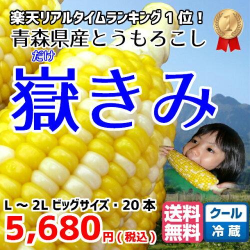 とうもろこし 嶽きみ だけきみ 青森県産 L-2L サイズ 20本入 送料無料 メロン より 甘い トウモロ...