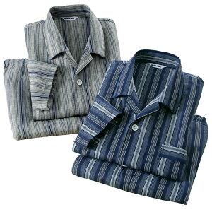 日本製 長袖 播州しじら織 ストライプ柄パジャマ 2色組 メンズ パジャマ 上下セット 春夏 50代 60代 437010