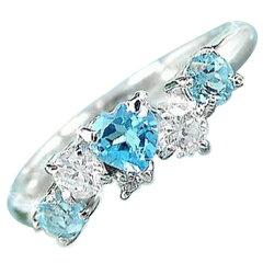 【送料無料】ブルートパーズダイヤモンドプラチナリング指輪:プラチナリング:ブルートパーズリ...