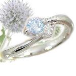 アクアマリン:ピンキーリング:ホワイトゴールドK18:/ダイヤリング:k18WG指輪:3月誕生石【smtb-m】