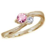 ピンクサファイヤ:ピンキーリング:ピンクゴールドK18:ピンクサファイヤ/ダイヤリング:k18pg指輪:9月誕生石