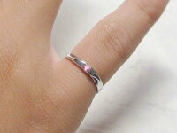 ピンクサファイヤ:ピンキーリング:ホワイトゴールドk18:ピンクサファイヤーリング/K18wg指輪:9月誕生石