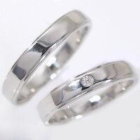 ペアリング:結婚指輪:マリッジリング:ホワイトゴールドk18:ダイヤモンド:ペア2本セット/K18wg指輪ダイヤ0.02ct:平打ちストレートライン【smtb-m】【送料無料】