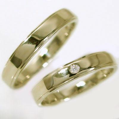 結婚指輪 マリッジリング ペアリング ゴールドk18 ダイヤモンド ペア2本セット K18 指輪 ダイヤ 0.02ct 平打ち ストレートライン