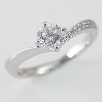婚約指輪:プラチナ/エンゲージリング:ダイヤモンド0.5ct/F-VVS1-EX:鑑定書付/脇ダイヤ0.06ct:V字:ダイヤリングPt900【smtb-m】