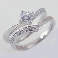 婚約指輪:プラチナ/エンゲージリング:ダイヤモンド0.5ct/G-SI2-Good:鑑定書付/脇ダイヤ0.14ct:V字:セットリング:Pt900【smtb-m】