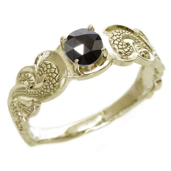 ハワイアンジュエリー 指輪 イエローゴールドk10 メンズ リング ブラックダイヤモンド K10yg カレイキニ:MAオリジンジュエリー