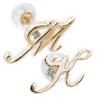 ペアイニシャルピアスイエローゴールドk18ブルーダイヤ片耳用大切な人とペアの2個セットK18ピアス名前ネームの頭文字【送料無料】