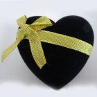【リボンマルチジュエリーケース】リング用ジュエリーケースリングケースピアスケースペンダントケースハート黒金リボン贈り物にプレゼントにジュエリーボックス
