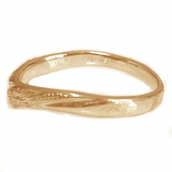 結婚指輪 マリッジリング ピンクゴールド K18 ペアリング ハワイアン ジュエリー ペア2本セット K18pg ブライダル