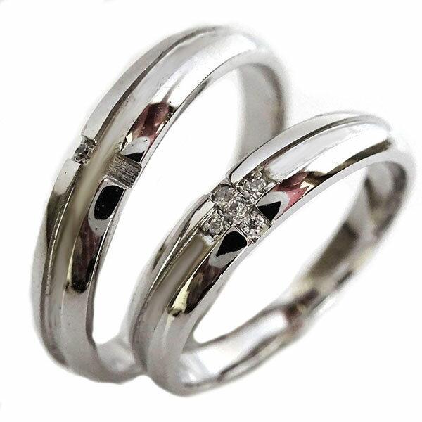 結婚指輪 プラチナ マリッジリング ペアリング ダイヤモンド ペア2本セット Pt900 ダイヤ クロス デザイン:MAオリジンジュエリー