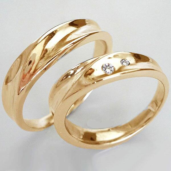 結婚指輪 マリッジリング ピンクゴールドk18 ペアリング ダイヤモンド ペア2本セット K18pg ダイヤ 0.03ct:MAオリジンジュエリー