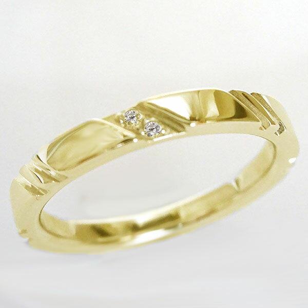 ゴールド K18 ペアリング ダイヤモンド ペア2本セット 結婚指輪 マリッジリング K18yg ダイヤ ストレート