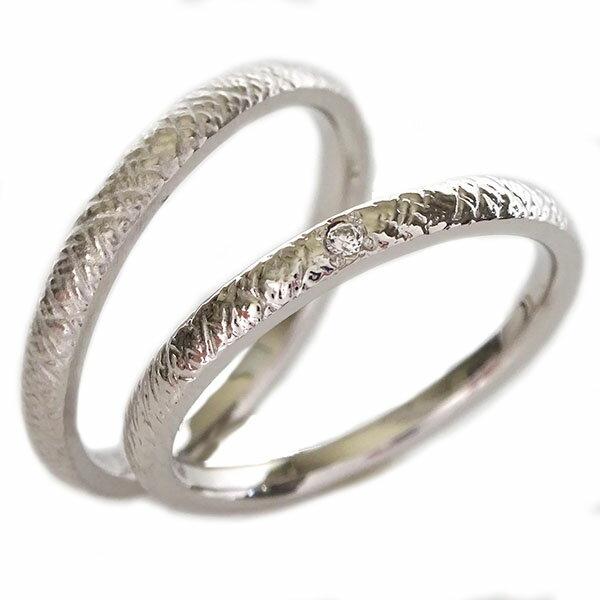 ペアリング ダイヤモンド ホワイトゴールドk18 ペア2本セット 結婚指輪 マリッジリング K18wg
