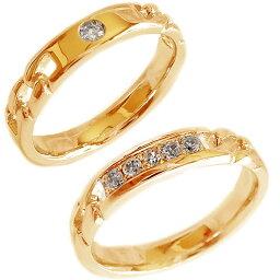結婚指輪 ピンクゴールド K18 マリッジリング ペアリング ダイヤモンド ペア2本セット K18pg ダイヤ【送料無料】