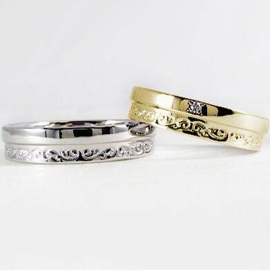 ペアリング:結婚指輪:マリッジリング:イエローゴールド/ホワイトゴールドk18:ペア2本セット:ダイヤモンド/K18指輪ダイヤ0.01ct:MAオリジンジュエリー