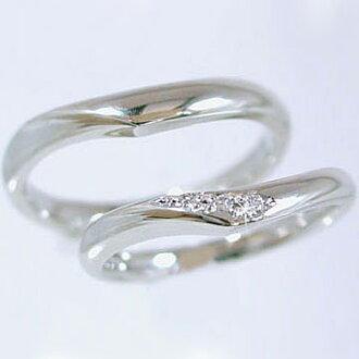 결혼 반지:페어링:플라티나/메리지 링:다이아몬드:반지:페어 2개 세트/Pt900 반지 다이어 0.03 ct