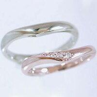 【ペアリング】:結婚指輪:マリッジリング:ピンクゴールドk18/ホワイトゴールドk18:ダイヤモンド:指輪:ペア2本セット/K18指輪ダイヤ0.03ct【smtb-m】