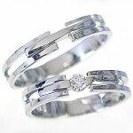 ペアリング:結婚指輪:マリッジリング:ホワイトゴールドk10;ダイヤモンド指輪:ペア2本セット/K10wg指輪ダイヤ0.10ct