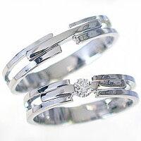 マリッジリング:結婚指輪:ペアリング:ホワイトゴールドk10;ダイヤモンド指輪:ペア2本セット/K10wg指輪ダイヤ0.10ct