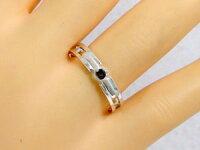 :結婚指輪:マリッジリング:ペアリングダイヤモンド/ブラックダイヤ:ホワイトゴールドk18:指輪:ペア2本セット/K18wg指輪ダイヤ0.10ct/ブラックダイヤ0.10ct【smtb-m】