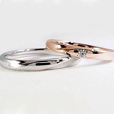 ペアリング:結婚指輪:ピンクゴールド/ホワイトゴールドk18:マリッジリング:ダイヤモンド:ペア2本セット/K18指輪ダイヤ0.02ct:MAオリジンジュエリー