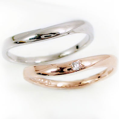結婚指輪 マリッジリング ペア2本セット レディース ピンクゴールド メンズ ホワイトゴールド ペアリング ダイヤモンド K10 指輪 ダイヤ 0.02ct