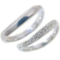 ペアリング:結婚指輪:マリッジリング:ペアリング:ホワイトゴールドk18:ダイヤモンド:ペア2本セット/K18wg指輪ダイヤ0.1ct【送料無料】