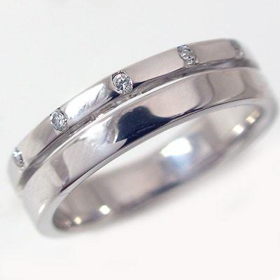 ペアリング/結婚指輪:マリッジリング:ホワイトゴールドk18/ダイヤモンド0.06ct:ペアK18wg2本セット指輪