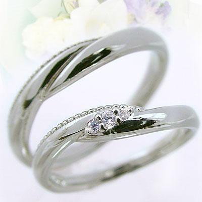 ペアリング:結婚指輪:プラチナ900:マリッジリング:ペア2本セット:ダイヤモンド/Pt900指輪ダイヤ0.04ct