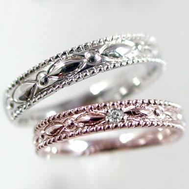 結婚指輪:マリッジリング:ペアリング:ピンクゴールドK18/ホワイトゴールドk18:ペア2本セット:ダイヤモンド:K18pg/K18wg指輪ダイヤ0.01ct:MAオリジンジュエリー
