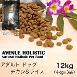 【リパック品】 アベニュー ホリスティック アダルト チキン&ライス 成犬用 12kg(4kg×3袋)