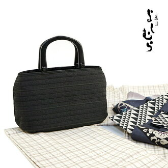 """Arashiyama good swings' summer back-and fringe people Tote wood handle (black)-Japanese unisex OK! Classic plain feeling ♪ kimono dress bag ♪ COD fee, and on the same day shipping OK"