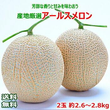 産地厳選アールスメロン2玉約2.6〜2.8kg
