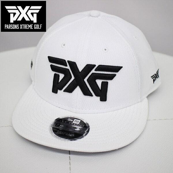 PXGGOLFNEWERAゴルフフラットキャップホワイトフリーサイズ白帽子パーソンズエクストリームゴルフピーエックスジーPARS