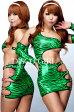 ボディコン ワンピース ミニワンピ 超ミニ  【Disco*Girl】TypeB・ラメグリーンゼブラ