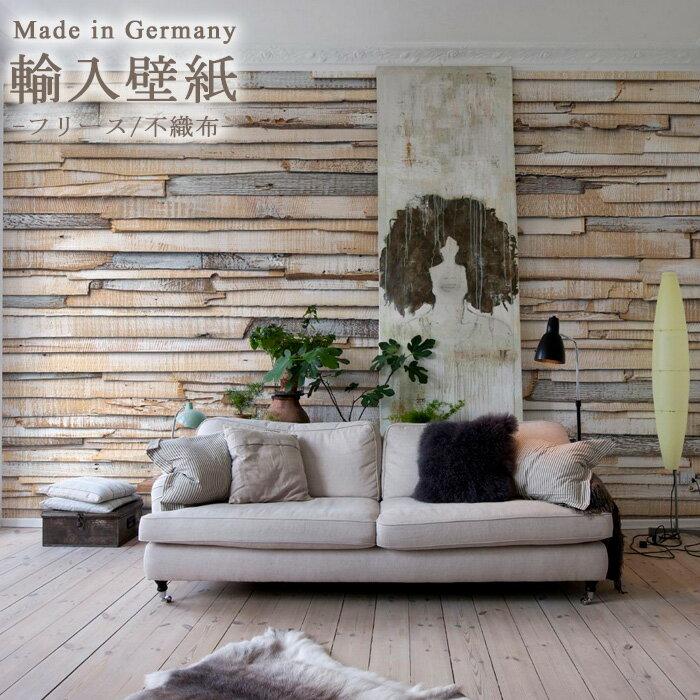 壁紙 おしゃれ 輸入壁紙 クロス 木目 木目調 インポート壁紙 のりなし 不織布 紙 はがせる ホワイトウッド ドイツ製[Whitewashed Wood]8-920 友安製作所