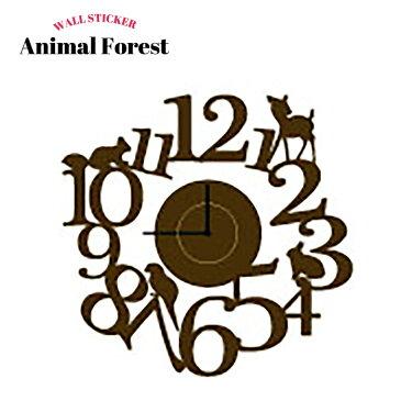 [在庫処分] ウォールステッカー 壁デコシール 時計 Animal Forest【WD137】 / チックタックシリーズ/ [カット シート ウオール ステッカー ウオールステッカー 壁紙 シール 転写 はがせる 賃貸住宅]