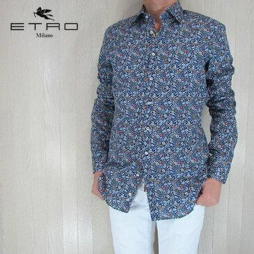 ETRO エトロ シャツ メンズ トップス 長袖 カジュアル カジュアルシャツ 11451 4733/ネイビー サイズ:40/41/42