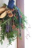 秋冬の実物とラベンダーのデニムリボンスワッグ